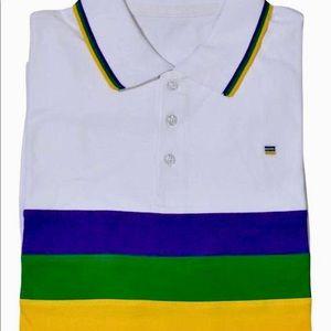 41eb20bf Poree's Embroidery Shirts - Mardi Gras Three Stripe Short Sleeve Polo Shirt